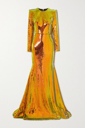 Alex Perry Prescott Sequined Tulle Gown - Orange
