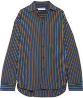 Balenciaga Masculin Oversized Striped Cotton-poplin Shirt - Blue
