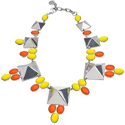 Ben-Amun Ben Amun Silver Pyramid Cabochon Necklace