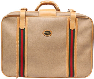 Gucci Beige Canvas And Leather Vintage Web Suitcase