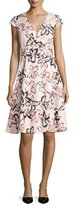 Kate Spade Cap-Sleeve Floral-Print Wrap Dress, Antilles Bubbles