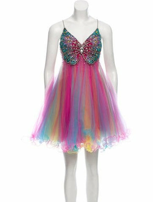 Terani Couture Embellished Strapless Dress w/ Tags multicolor