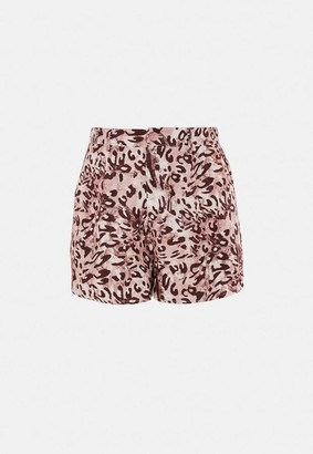 Missguided Brown Leopard Print Co Ord Tailored Runner Shorts