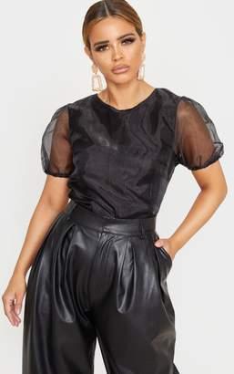 PrettyLittleThing Petite Black Organza T Shirt Blouse