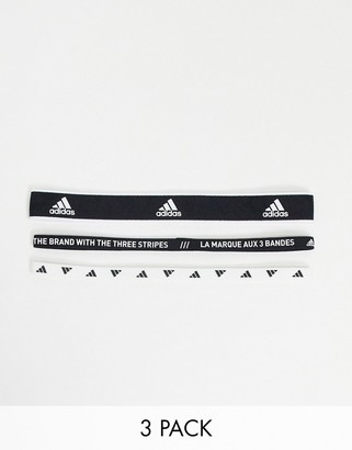 adidas Training 3 pack hair bands in black and white