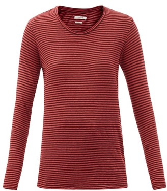 Etoile Isabel Marant Kaaron Striped Linen-blend Long-sleeved T-shirt - Red