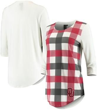 Unbranded Women's White/Crimson Oklahoma Sooners Gingham Plaid 3/4-Sleeve T-Shirt