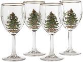 Spode Christmas Tree Set of 4 Gold-Rim Wine Glasses