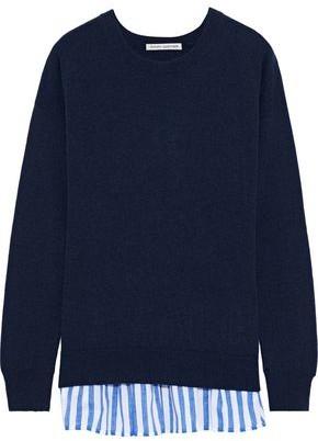 Autumn Cashmere Striped Poplin-trimmed Cashmere Sweater