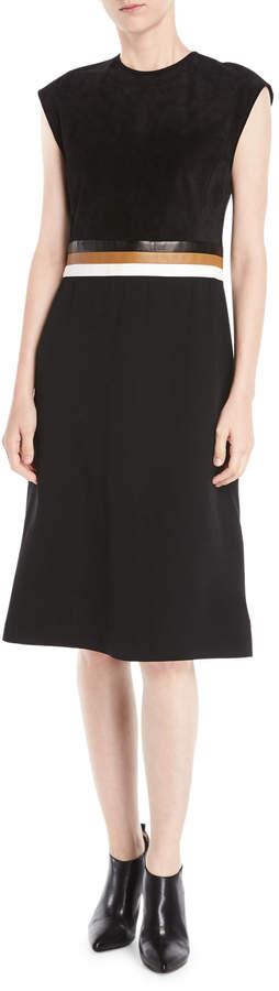 Derek Lam Sleeveless A-Line Stretch Cady Dress w/ Leather Belt Insert