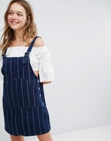 Monki Denim A Line Pinafore Dress