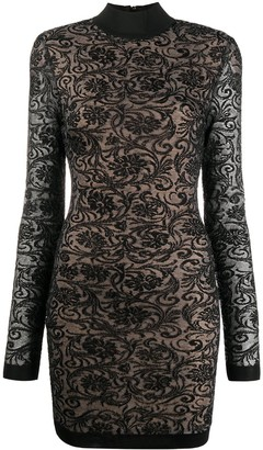 Balmain Long-Sleeve Lace Dress