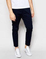 Dr Denim Slim Tapered Diggler Chino With Turn Up In Deep Blue