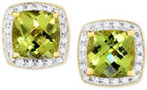 Macy's Peridot (3 ct. t.w.) & Diamond (1/6 ct. t.w.) Halo Stud Earrings in 14k Gold