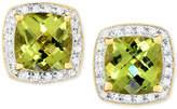 Macy's Peridot (3 ct. t.w.) & Diamond (1/6 ct. t.w.) Halo Stud Earrings in 14k Gold