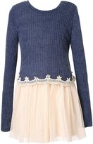 Richie House Girls' Pullover Sweater with Mesh Bottom RH2261-B