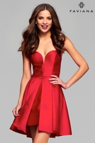 Faviana 7860 Short mikado cocktail dress with sweetheart neckline and split front overskirt