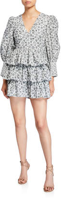 LoveShackFancy Paris Calico Floral Tiered Short Dress