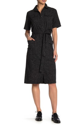 FRNCH Belted Short Sleeve Midi Shirtdress