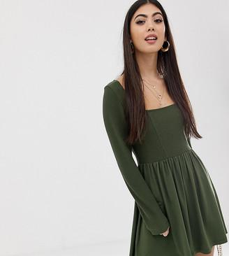 Asos DESIGN Petite mixed fabric long sleeve skater dress-Green