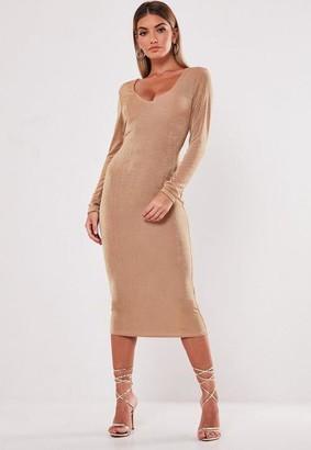 Missguided Camel Slinky V Neck Long Sleeve Midi Dress