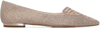 Sophia Webster Champagne Sparkly Embroidered Butterfly Pumps