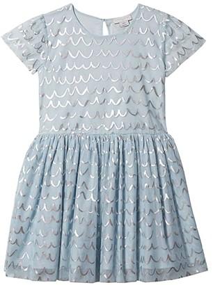 Stella Mccartney Kids Short Sleeve Tulle Dress with Shell Foil (Toddler/Little Kids/Big Kids) (Blue) Girl's Clothing