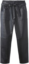 """Vanessa Seward X La Redoute Collections Straight Cut Leather Trousers with Tie-Waist, Length 26"""""""