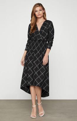 BCBGMAXAZRIA Windowpane Smock-Waist Dress