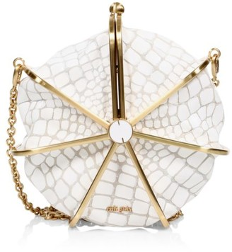 Cult Gaia Nika Croc-Embossed Leather Crossbody Bag