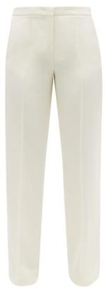 Jil Sander Buttoned-cuff Virgin Wool Wide-leg Trousers - Womens - Ivory