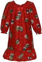 Laura Dare Little Girls Red Snowman Print Bow Long Sleeved Nightgown