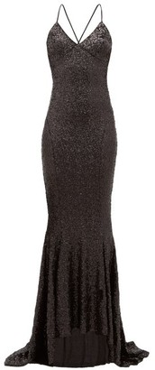 Norma Kamali Fishtail-hem Sequinned Maxi Dress - Black