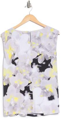 Calvin Klein Floral Print Pleated Neck Sleeveless Tank