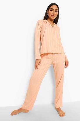 boohoo Jacquard Stripe Satin Pyjamas