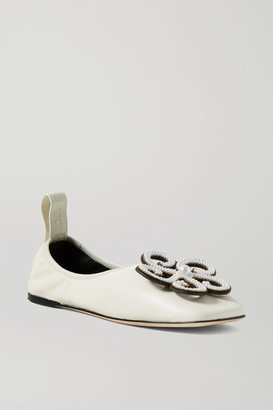 Loewe Faux Pearl-embellished Leather Ballet Flats - White