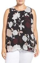 Vince Camuto Plus Size Women's 'Chapel Rose' Print Sleeveless Blouse
