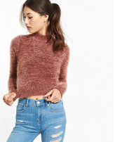 Express marled mock neck cropped sweater