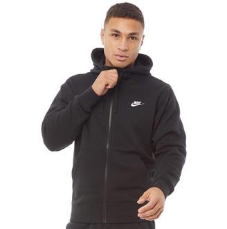 Nike Mens Sportswear Club Fleece Full Zip Hoodie Black