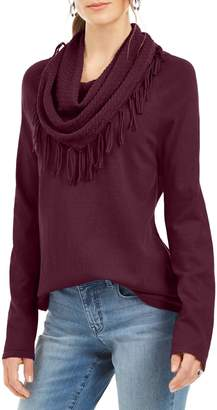 Style&Co. Style & Co. Fringed Cotton-Blend Sweater