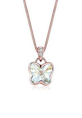 Elli Butterfly Swarovski Crystal 925 Sterling Silver Rose Gold Plated Necklace of Length 42cm