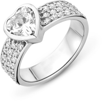 N. MIORE Ladies 925 Sterling Silver Zirconia Heart Shape Ring - Size