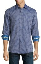 Robert Graham Pinal Peak Printed Woven Sport Shirt, Navy