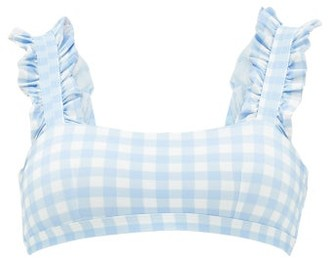 Ephemera - Ruffle Gingham Bikini Top - Blue Print