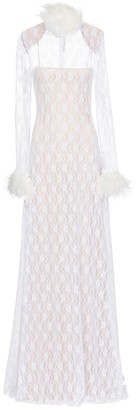 Christopher Kane Bridal feather-trimmed lace gown