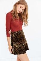 Ecote Velvet Flocked Mini Skirt