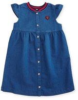 Gucci Snap-Front Jersey Denim Dress, Blue, Size 6-36 Months