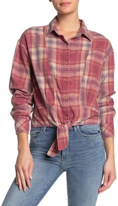 C&C California Plaid Print Tie Hem Shirt