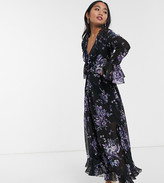Asos DESIGN Petite wrap maxi dress with frills in dark based floral print
