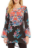 Tolani Belle Printed Long Bell Sleeve Tunic